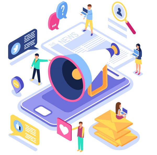 Virtual communication and media sharing Vector illustration.